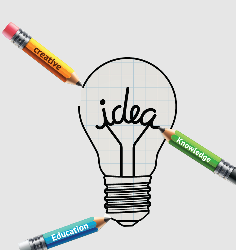 Lightbulb ideas concept doodles icons set. Vector illustration.